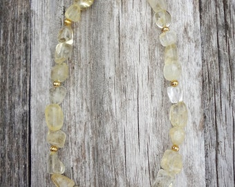 Loretta | Chunky Gold Citrine Necklace, November Birthstone