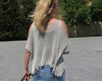 Knit top open shoulder top cropped t shirt cropped sweatshirt cropped blouse plus size top beach loose tank top off shoulder cotton tank top