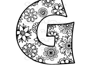 Letter G Alphabet Flowers SVG / JPEG / PNG /pdf / use with Silhouette Studio and Cricut Design Space - Commercial Use - Adult Coloring Page