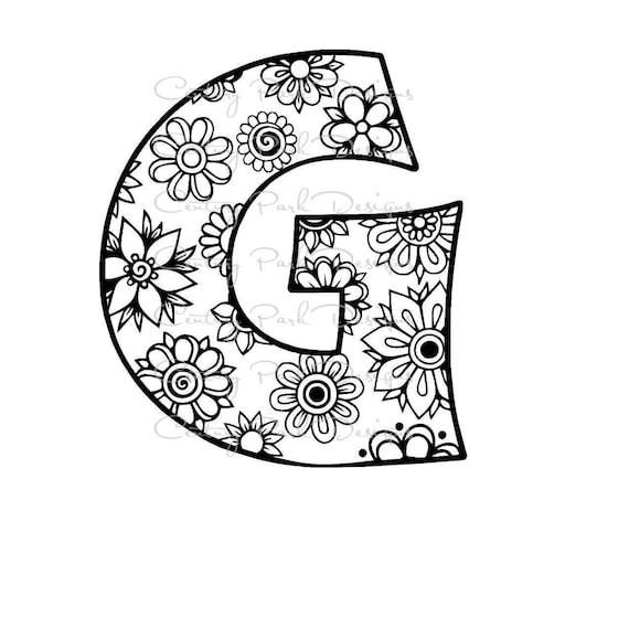 letter g alphabet flowers svg jpeg png pdf use with. Black Bedroom Furniture Sets. Home Design Ideas
