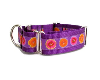 """martingale dog collar - purple poppies martingale collar - 1.5"""" wide large breed floral female pet collar - pretty girl wide training collar"""