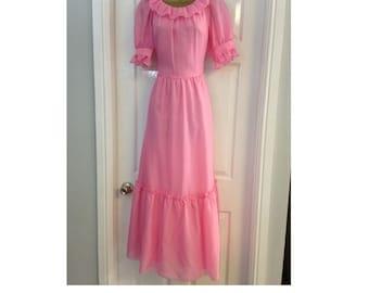 ORIGINAL 70's, Vintage Pink Prairie Dress, Bohemian Dress, Summer Maxi Dress, Floaty Party Dress, Vintage Dress, Tea party Dress.