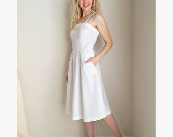 Vintage white dress | sundress sleeveless with pockets midi dress a-line bridal shower dress summer dress | Act I New York | size small