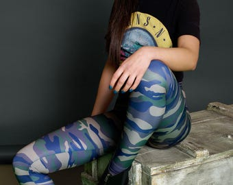 Camo Leggings, camouflage leggings, metal clothing, boho leggings, boho clothing, camouflage clothing, hipster clothing, gypsy clothing