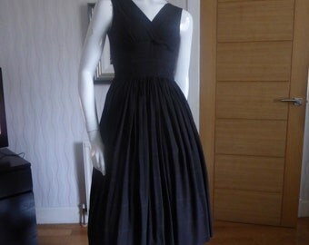 Original 1950's dark brown/black stripped dress