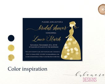 Navy Gold Bridal Shower Invitation Bokeh Lights Bride Wedding Dress Silhouette Digital Classic Bridal Shower Invite - BS006