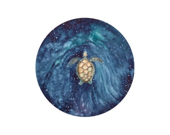 Sea Turtle Swimming Around the Galaxy, Art Print, Giclee, Art Decor, Fine Art, Surrealism