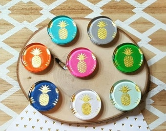 8 Pineapple Magnets / Glass, Multicolor, 1 inch, Fridge Magnets / Girl, Coastal, Beach Home Decor / Birthday Gift under 10
