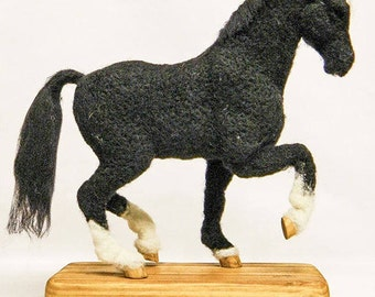 Commission a bespoke mixed media sculpture portrait of your horse! OOAK Needle felted sculpture on reclaimed wooden base