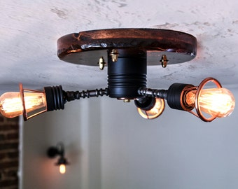 Handcrafted industrial steampunk ceiling light: Triple wrought iron stem