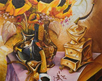 "Oil painting - Sunflowers canvas painting. 23.6""x15.7"" (60cm x 40cm) painting art original, wall art canvas, oil painting STIL LIFE flowers"
