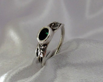 """Item 163- Handcrafted, sculpted, carved 999 Fine and 925 Sterling Silver Ring with Green Oval """"Columbian Enerald"""" Cubic Zirconia and Leaves"""