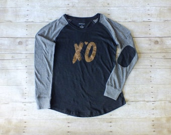 XO Shirt, Valentines Day Shirt, Long Sleeve Elbow Patch Shirt, Foil Shirt