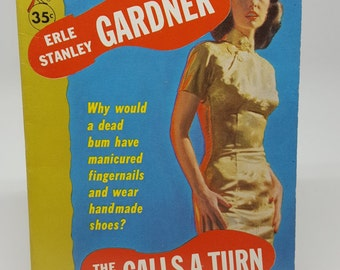 """Erle Stanley Gardner, """"The D.A. Calls A Turn"""" Great Condition Pulp Mystery, Author of Perry Mason, ©1960, Mid Century Novel, Great Color"""