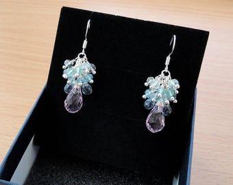 Drop earrings Gemstones Dangle earrings Crystal earrings Aquamarine Silver earrings Gemstone jewelry Teardrop Blue earrings Natural stone Jm