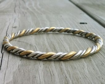 Twisted Bangle * Mixed Metal Bracelet * Handmade Bangle * Artisan Jewelry