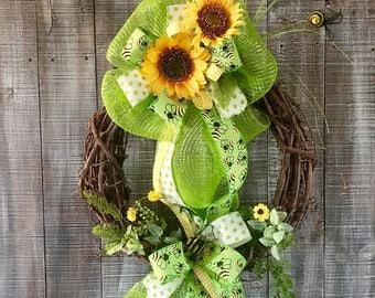 Everyday wreath,Summer wreath,Summer wreath for front door