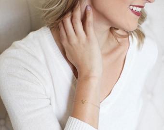 14k BRACELET - 14k intial bracelet - gold initial bracelet - white gold initial bracelet - rose gold personalized bracelet - custom