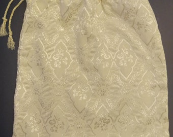 Bridal Money Bag Ivory Satin Embroidered Diamond Shape Floral Print