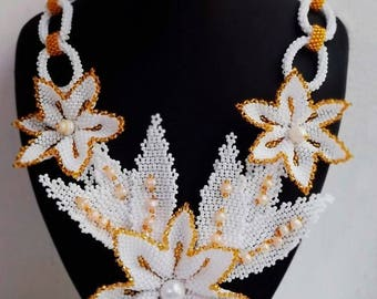 White gold flowers necklace Wedding jewelry Pearl necklace Bib necklace Statement necklace Beaded jewelry Bridal necklace Chain necklaces