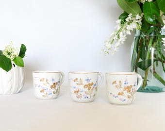 Set of 3 Vintage White Tea/Coffee Cups, Porcelain, Floral Signature, Golden Border, Blue Flowers, French Tableware, Cottage, Made in France