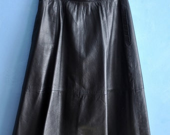 Vintage black leather skirt, 80s A-line leather skirt, midi leather skirt