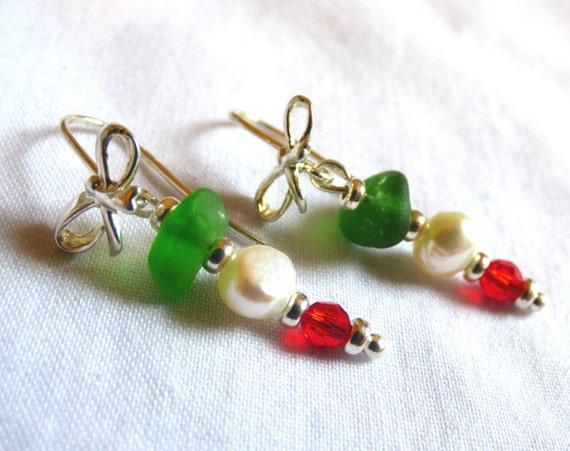 Italian Flag Earrings, Italian Colour Jewellery, Italy Color, Sea Glass Earrings, Christmas Sea Glass, Red Swarovski, Pearls - EF16003