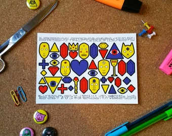 Ancient Artifacts and Masks Postcard, Primary Colours original art card, pretty postcards, patterned postcards, art postcard, cool postcard