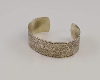 "Sterling Silver 925 Designer Ed Levin Flowers And Swirl Cuff/Bracelet 7"" Around"