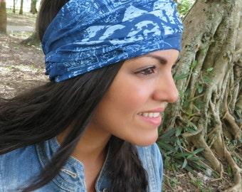 Lotus Wide Headband, Yoga Blue Headband, Running Headband, Fitness Headband, Women Headband, Jersey Hippie Headband, Wide Bohemian Turban