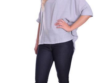 Summer Tunic Blouse Ice Grey 3/4 Sleeves Wide Loose Fit Great with Leggings Light and Breezy