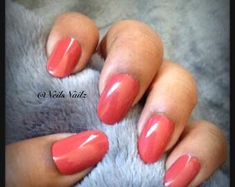 Hand Painted Press On Nails, Fake Nails, Full Cover Nails, Medium Oval Length, Reddish Nails, Orange like Nails Brownish Nails