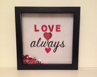 Love Always Box Frame with Hearts and Plenty of Sparkle