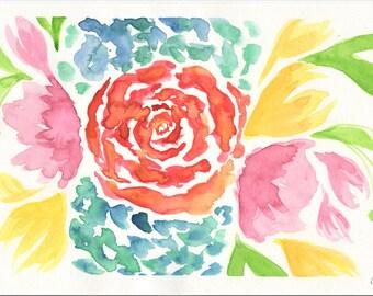 """Watercolor flower Bouquet 9""""x6"""""""