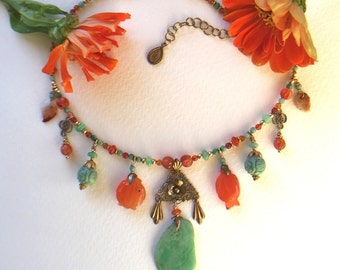 Antique Chinese Carved Jade and Carnelian with Vermeil Filligree necklace