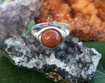 Goldstone ring,goldstone jewelry, custom made ring, natural stone ring, wire ring, wire rings, handmade wire ring, gift for her