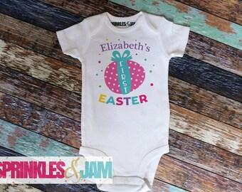 Easter Onesie Baby Girl, Baby Girl 1st Easter Outfit, Girls 1st Easter Onesie, First Easter Outfit, Cute Bunny 1st Easter