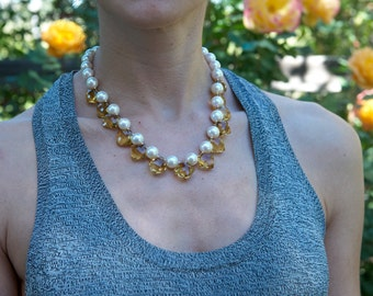 Faceted Honey Citrine with Freshwater Pearl Necklace, November Birthstone, Gem Quality Heirloom Necklace, Bridal Jewelry, Gift for Her
