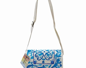 """hand painted Crossbody purse, collection """"Vietri ceramics"""", small and large for everyday"""