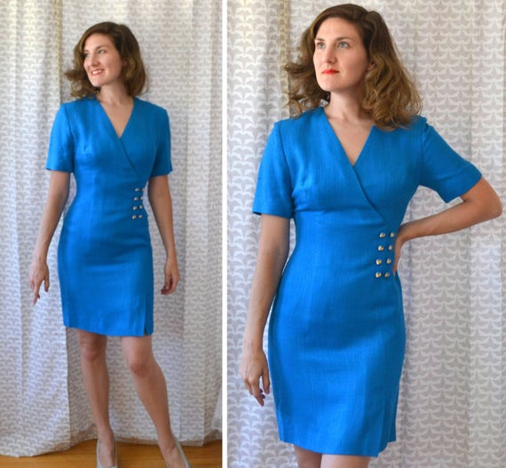 Sapphire Siren Dress | vintage 80's blue mini dress | small
