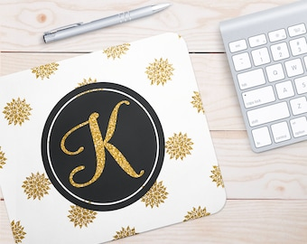 Monogram Mouse Pad | Glitter Gold Seamless Pattern, Gold Mouse Pad, Mouse Pad, Monogram, Personalized Mouse Pad, Glitter Mouse Pad, Office