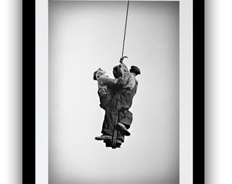 Historical Photo of Working Men Hanging from Crane, Photography Print, Industrial Decor, Black White, Modern Urban, Large Wall Art, Home