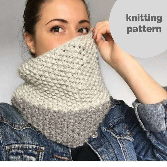 Knitting PATTERN PDF : Chunky Snood Cowl knitting pattern