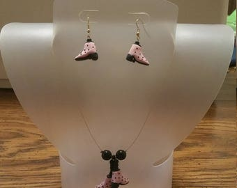 Pink and black poke a dot necklace/earring set