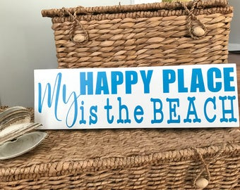 Exceptional Wood Sign Home Decor, My Happy Place Sign, Beach Wood Signs, Unique Gifts