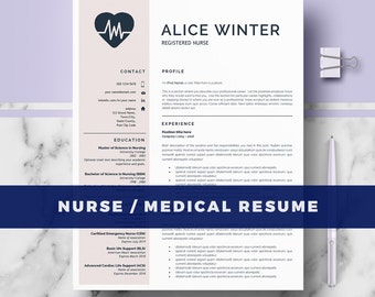 RN Nurse Resume Template | Medical Resume Template for MS Word & Pages | Nurse Resume; Doctor CV, Nurse cv; Instant Download medical resume