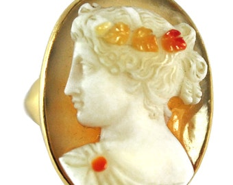 Ring yellow gold cameo time 1910