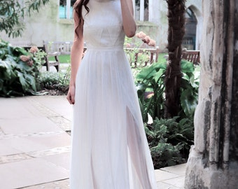 Simple wedding dress made of silk chiffon and lace. Elegant, boho wedding gown with slits perfect for rustic wedding - Vina Dress