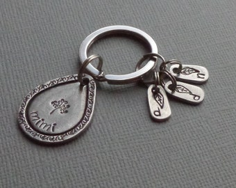 Pewter expandable mom/grandma keychain - hand stamped - children's initials - tree of life - leaf stamps