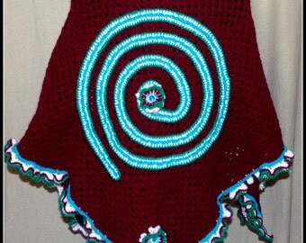 in Burgundy wool patterned blue spiral crochet shawl
